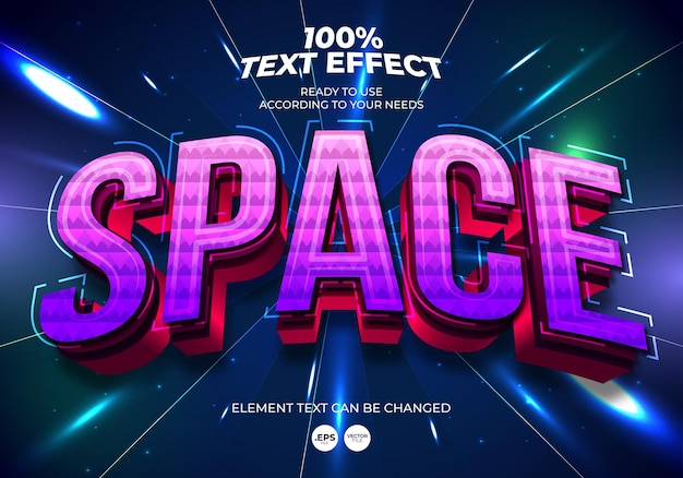 Space editable text effect