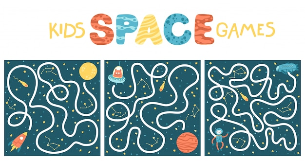 Space educational maze puzzle set games, suitable for games, book print, apps, education. funny simple cartoon illustration on a dark background