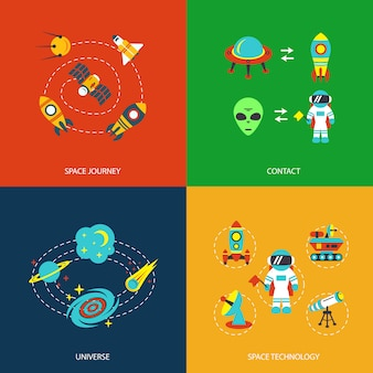 Space elements infographics