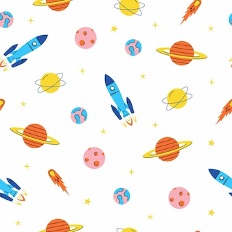 Space elements seamless pattern with rockets planets stars and comet cosmos background