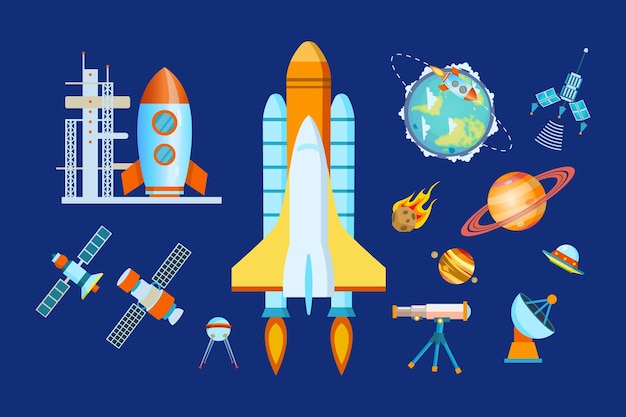 Space elements set. spacecraft, rocket, astronomy, planet with orbit, ufo, satellite station, comet
