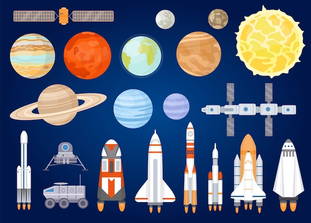 Space elements. solar system planets, sun, spaceship, rocket, satellites, mars and moon rover. universe exploring. cartoon cosmic vector set. illustration rocket and satellite, spaceship and planets