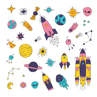 Space elements, star, comet, asteroid, planets, moon, sun