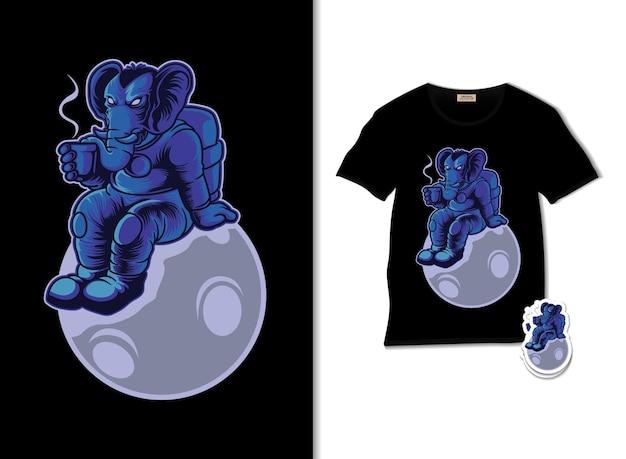 Tシャツのデザインと月のイラストでコーヒーを飲む宇宙象