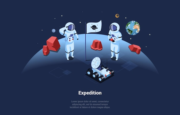 Space expedition illustration in cartoon 3d style