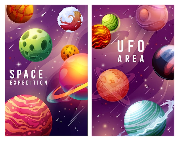 Space expedition and ufo area, galaxy planets and stars