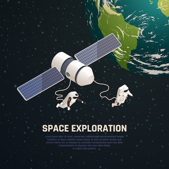 Space exploration background with outer space research symbols isometric  illustration
