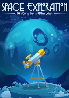 Manifesto del fumetto di esplorazione spaziale con supporto per telescopio sulla collina sotto il cielo stellato con scoperta della scienza della luna e attrezzatura per lo studio dell'astronomia per guardare stelle e pianeti nella galassia