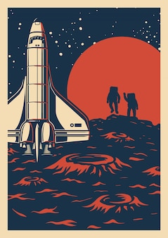 Space exploration colorful poster