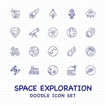 Space exploration doodle icons set