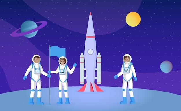 Освоение космоса, экспедиция плоский векторная иллюстрация