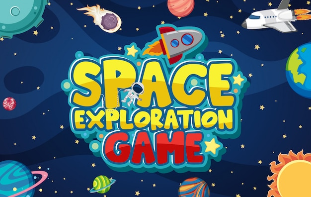 Space exploration game design with planets in the galaxy