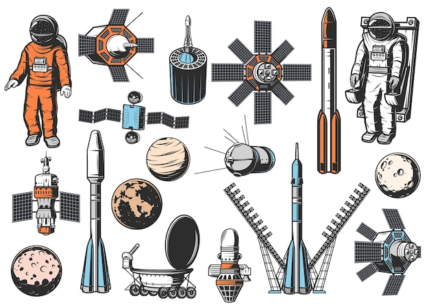 Набор иконок исследования космоса. астронавт в скафандре на маневренном аппарате, естественных и искусственных спутниках, ракетном ускорителе, космических кораблях и планетах солнечной системы, исследовательском вездеходе