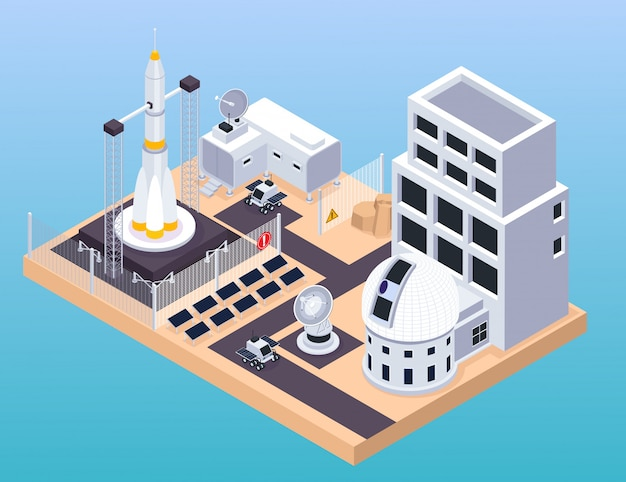 Space exploration isometric composition with view of training centre with buildings launch pad and moving rovers vector illustration