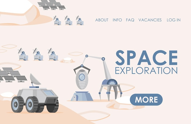Space exploration landing page template solar panels rovers and scientific