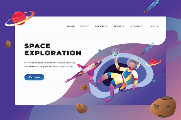 Space exploration landing page template