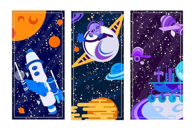 은하계 행성, 별, 그래픽 배너 세트, 벡터 일러스트 레이 션 근처 우주 탐사. 우주 하늘 포스터 디자인의 로켓 비행, 외계인은 미래 과학 기술을 사용합니다. 우주에 있는 위성, 플라이어.