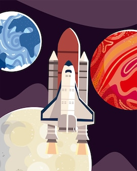 惑星と月のイラストを探索する宇宙探査ロケット