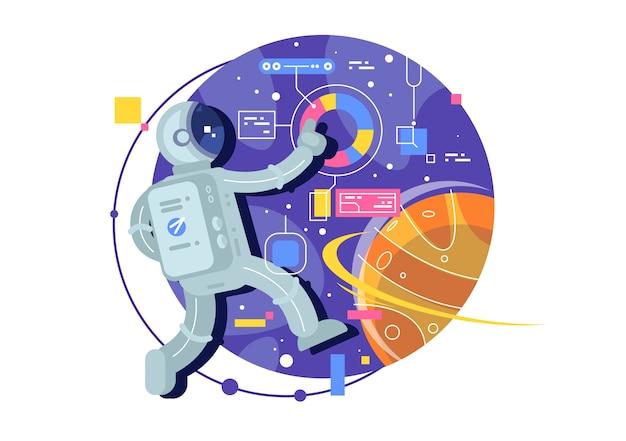 宇宙探査、宇宙旅行者、宇宙の宇宙飛行士。クリエイティブなイラスト。