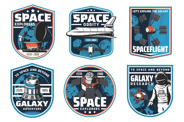 Space exploration, spaceship and astronaut icons