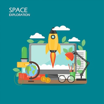 Space exploration vector flat style