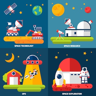 Space exploration vector images