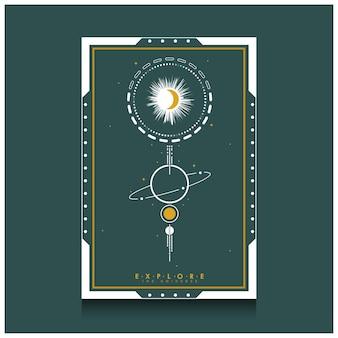 宇宙を探索する宇宙の背景テンプレート、タイドウォーターグリーンの色