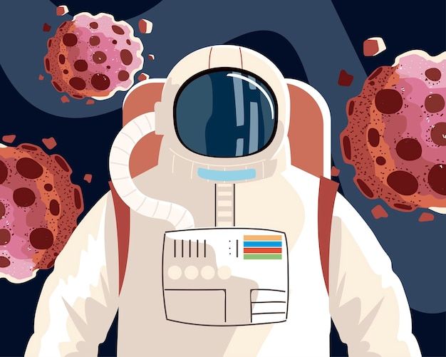 Space explorer, cosmonaut or astronaut in spacesuit with asteroids  illustration