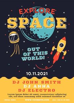 Флаер исследователя космоса. трендовый музыкальный плакат в стиле галактики с ракетами, планетами и звездами. современный шаблон, музыкальный дизайн ди-джея.