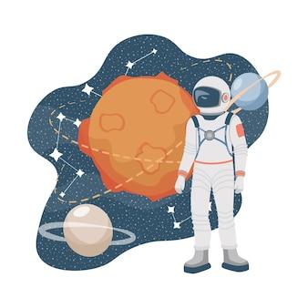 宇宙服のイラストで宇宙探検家