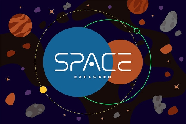 Space explorer poster concept galaxy exploration company logotype template in universe with