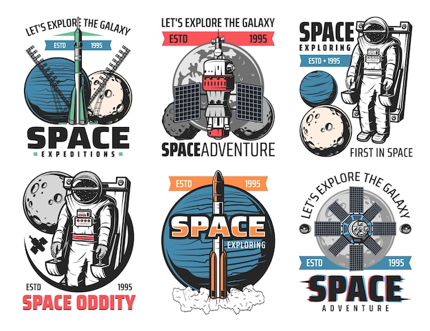 Space exploring, astronauts mission icons. rocket heavy lift launch vehicle, astronaut on manned maneuvering unit in outer space, launching spaceship, orbital station and satellite retro s