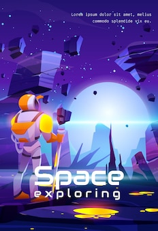 Space exploring cartoon poster. astronaut on alien planet in far galaxy cosmonaut in suit and helmet hold staff looking on unusual landscape