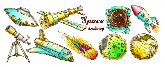 Space exploring color elements set