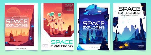 Space exploring flyers set with alien landscape