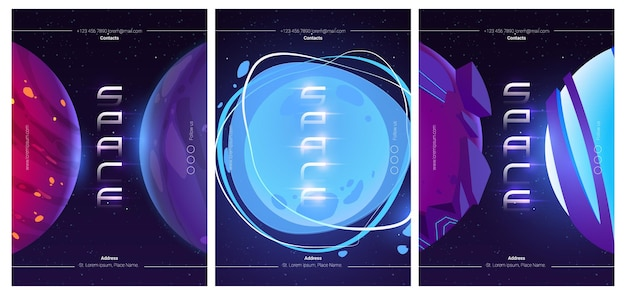 Space exploring illustrations set of futuristic flyers with cartoon illustration of fantasy alien planets