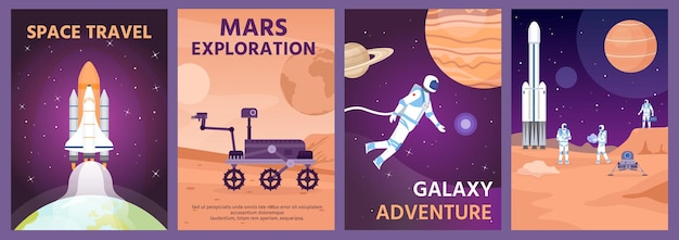 Space exploring poster. galaxy landscape with rocket, planets and astronaut. mars rover on planet surface. cosmic science banner vector set. illustration poster of planet, galaxy and exploration mars