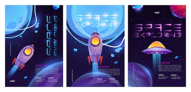 Набор шаблонов плакатов для изучения космоса