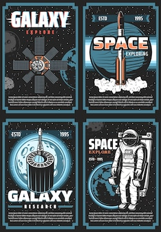 Space exploring retro  posters. galaxy expedition adventure vintage cards with astronaut, shuttle space explorer, satellites and planets in outer space. cosmos research, colonization mission