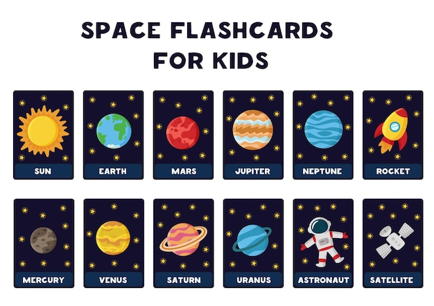 Space flashcards for kids.   illustrations of solar system planets with their names.