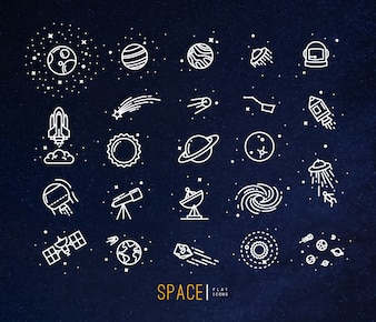 Space flat icons drawing with white lines