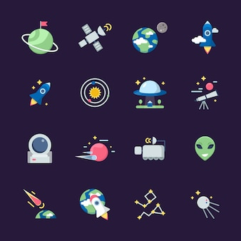 Space flat icons. telescope satellite spaceship earth sun and planets views from observatory  illustrations