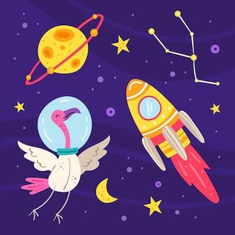 Космос плоской иллюстрации, набор элементов, наклейки, значки. изолированные на фоне. ракета, планета, фламинго в скафандре, звезда, луна, созвездие, галактика, наука. футуристический. открытка.