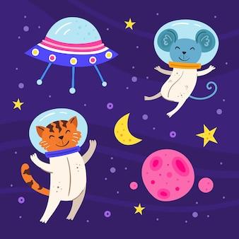 スペースフラットイラスト、一連の要素、ステッカー、アイコン。背景に分離されました。タイガー、宇宙服のマウス、星、月、惑星。 ufo船。銀河、科学。