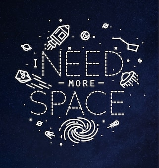 Space flat monogram lettering