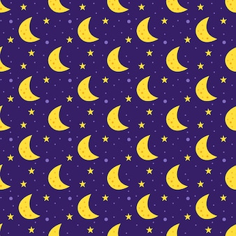 Space   flat seamless pattern. moon with stars.
