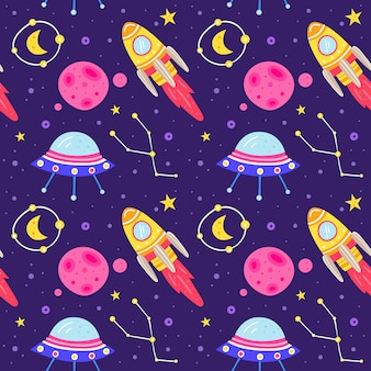 Space   flat seamless pattern.
