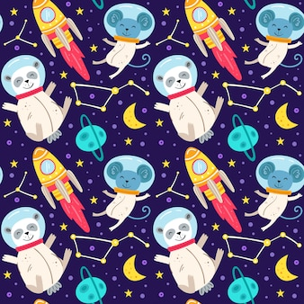 Space  flat seamless pattern