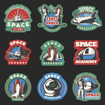 Space flights and research colored emblems with cosmic equipment