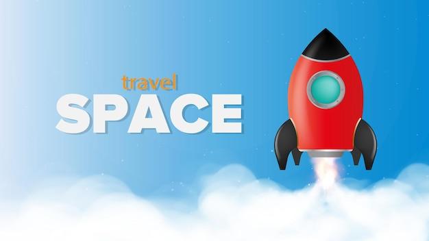 여행을 위한 공간. 우주 비행을 주제로 한 파란색 배너입니다. 우주 왕복선.